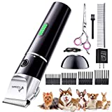 Gimars Quiet Rechargeable Cordless Electric Dog Hair Clippers, Powerful Pet Shaver Hair Clippers Dog Trimmers Shears Set with Comb Guides Scissors for Dogs Cats Pets Cat, Horse(Purple)