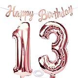 SNOWZAN Globo de 13 cumpleaños en oro rosa para niña, número 13, globos gigantes de helio, número 13, globos con números grandes de 13 años, XXL, guirnalda de 32 pulgadas, número 13, para fiesta