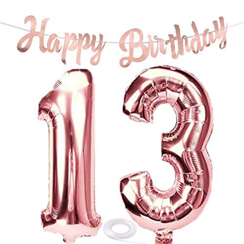 SNOWZAN Luftballon 13. Geburtstag Rosegold Mädchen Zahl 13 Riesen Folienballon Helium Nummer 13 Luftballon Große Zahlen 13 Jahre XXL 13. Happy Birthday Banner Girlande 32 Zoll Riese Zahl 13 für Party