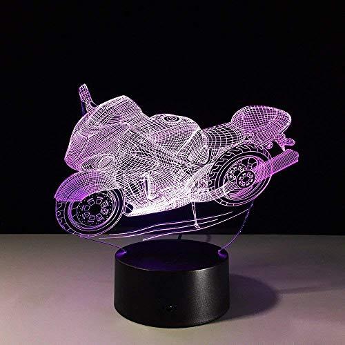 Ilusión óptica 3D Motocicleta Luz nocturna 7 Cambio color Botón táctil USB Lámpara luz mesa escritorio LED Juguetes para niños Decoración Decoraciones Navidad Regalo San Valentín Regalo cumpleaños