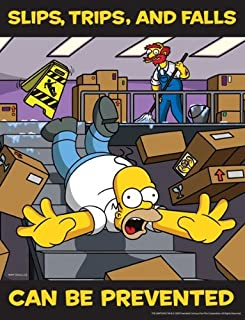 Simpsons Slips Trips and Falls Safety Poster - Slips, Trips and Falls Can Be Prevented