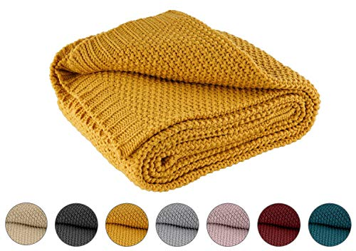Kuscheldecke Strick 140x190 cm gelb senfgelb Curry - Strickdecke OekoTex warme weiche Decke Herbst-Winter-Kollektion 20/21 Geschenk
