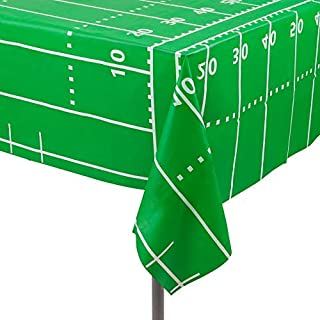 Football Field - Super Bowl 12 Pack Premium Disposable Plastic Tablecloth 54 Inch. x 108 Inch. Rectangle Table Cover By Grandipity