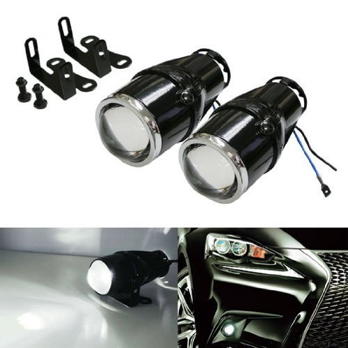 iJDMTOY 3-Inch Projector Fog Light Lamps w/ 40-SMD Xenon White LED Halo Angel Eyes Rings Compatible With Car SUV Truck