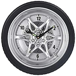 Garage Wall Clock, Tire Rim Clock w/Luminous Wrench, Silent Battery Operated Rubber Gear Wheel Decorative Clock for Automotive Mechanic Shop, Man Cave, Car Enthusiasts, Boys Bedroom- 14 Inch, Black