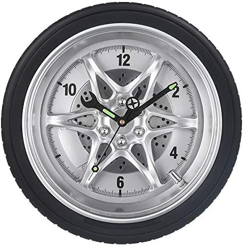 Garage Wall Clock Tire Rim Clock w Luminous Wrench Silent Battery Operated Rubber Gear Wheel product image