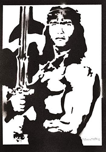 Poster Conan el Brbaro Arnold Schwarzenegger Grafiti Hecho a Mano - Handmade Street Art - Artwork