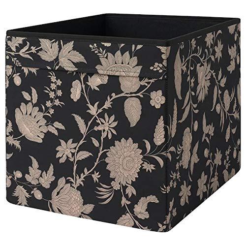 DRÖNA IKEA Aufbwahrungsbox für Kallax Regale Box Fach Kiste 33x38x33 cm (Schwarz geblümt beige)