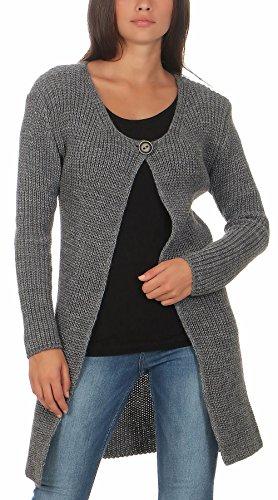 Malito Damen Lange Strickjacke | Cardigan im Grobstrick Look | Weste mit Wolle | Mohair - Jacke - Mantel 7020 (grau)