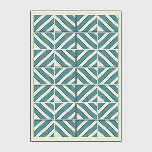 artkingdom Alfombra Moderna y Duradera, Alfombra de Sala de Estar Gruesa y Suave, Tiras rectangulares Blancas y Azules, tamaño 80 * 160 cm