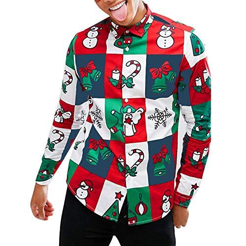 FRAUIT Kerstmis heren snowman bedrukt shirt met lange mouwen slim pak, business, bruiloft, vrije tijd - overhemd met lange mouwen voor mannen trui sweatshirt M-2XL