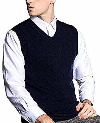 Nidicus Men's Classic Douglas Solid Color Merino Wool V-Neck Sweater Vest Navy Blue L by