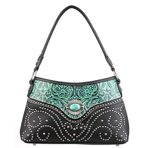 Montana West Leather Hobo Purse For Women Tooled Western Design Handbag With Studs