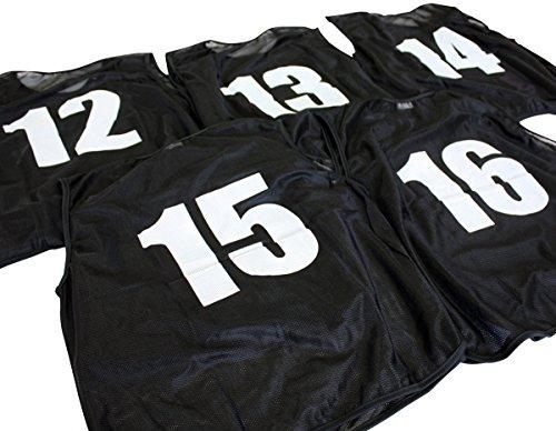 ビブス ゼッケン 12-16番 5枚セット [ブラック 黒] [フリー 大人] 【フットサル サッカー バスケ イベント】