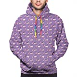 Men's Hoodies Sweatershirt, Vintage Deep Deck Girlie Scooters On A Purple Shaded Background,XXL