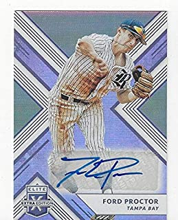Ford Proctor Autographed Collectible Baseball Card - 2018 Panini Extra Elite Extra Edition Baseball Card #105 (Tampa Bay Rays) Free Shipping
