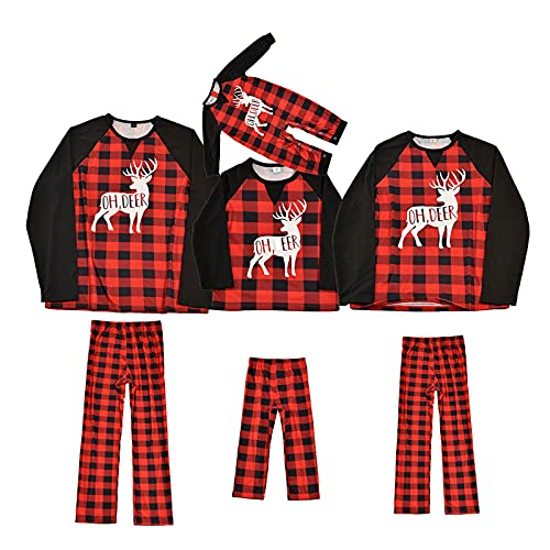 Christmas Pajamas for Family, Matching Pjs Set, Xmas Deer Red Plaid Jammies Holiday Casual Parent-child Suit