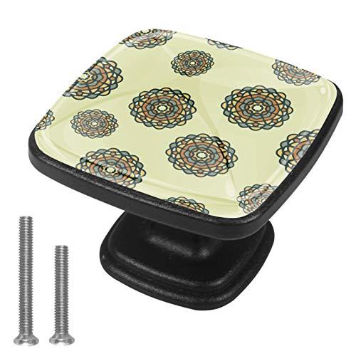 Paquete de 4 pomos cuadrados para cajones decorativos, diseño de flores circulares