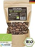 Edelmond Bio Kakaobohnen Rohkost, frisch direkt vom Farmer. Sonnengetrocknet und Fair Trade. Ohne Spritzmittel (500 g)