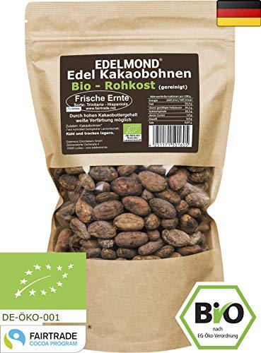 Edelmond Bio Kakaobohnen Rohkost, frisch direkt vom Farmer. Sonnengetrocknet und Fair Trade. Ohne Spritzmittel (1000 g)