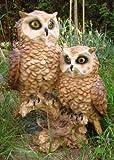 Eule Pärchen auf Stamm Figur Vogel Garten Tierfigur TOP NEU