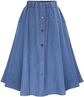 chenshiba-JP 女性のプラスサイズ弾性ウエストボタンフロントラインデニムスカート