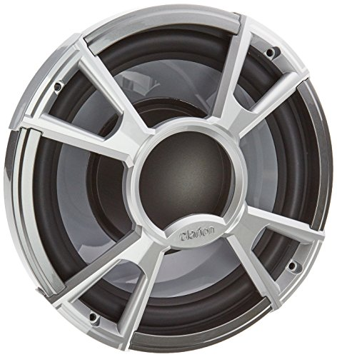 """Clarion Corporation of America CMQ2512WL Marine Subwoofer with Built-in Blue LED Light 10"""" Silver"""