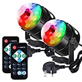 Litake Disco Lights, Latest 6-Color LEDs DJ Party Disco Ball Lights 6W 7 Colour Patterns Sound Activated Remote Control Stage Strobe Light for Party Bar Club Festival Wedding Show Home-2 Pack