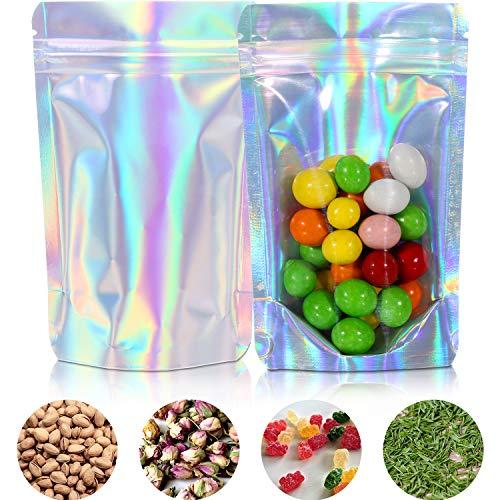 Norme 100 Stücke Zip Lock Taschen Wiederverwendbare Aluminium Folie Taschen Lebensmittel Lagerung Wasserdichter Geruch Beweis Taschen Stand Taschen Hologramm Regenbogen Geschenktüte (5,1 x 3,3 Zoll)