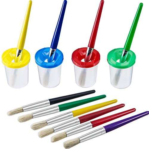AKORD Spill Proof Paint Cups in 4 Colors and 10 Pieces Assorted Colored Brushes Set