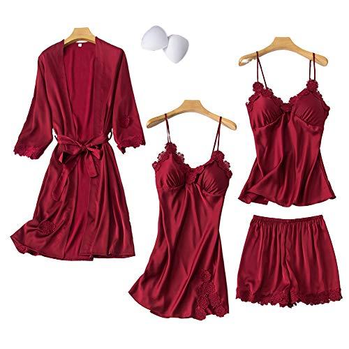 Chongmu Damen 4St. Seide Schlafanzüge Satin Nachtwäsche Bademantel Pyjama Bottoms Shorts Sexy V-Ausschnitt Schlafrock