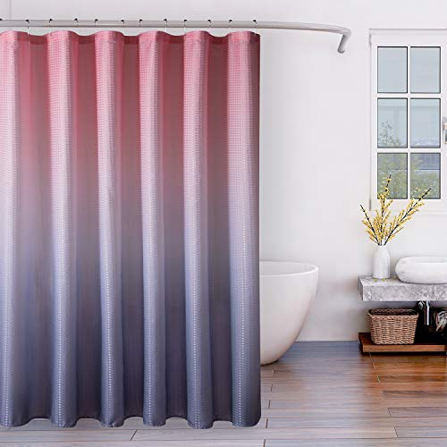LORDTEX Ombre Textured Fabric Shower Curtains for Bathroom - Waterproof Total Privacy Washable Bathroom Shower Curtains with 12 Hooks, 1 Panel, 72 x 72 Inch, Blush and Gray