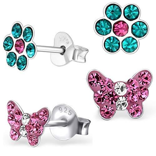 2 paia di orecchini a perno rosa a forma di farfalla + fiore in vero argento 925 e Argento, colore: Motivo 7 turchese/rosa, cod. MH1706