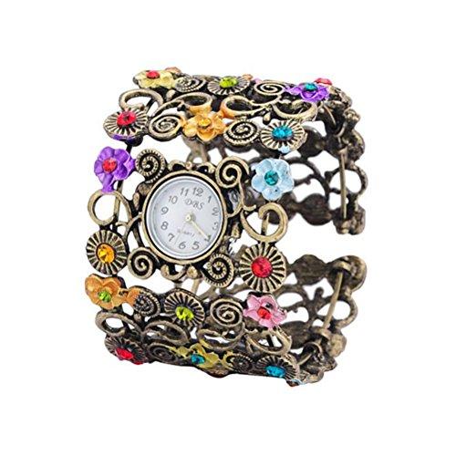 LEORX Mujeres Vintage Floral pulsera relojes pulsera (bronce)