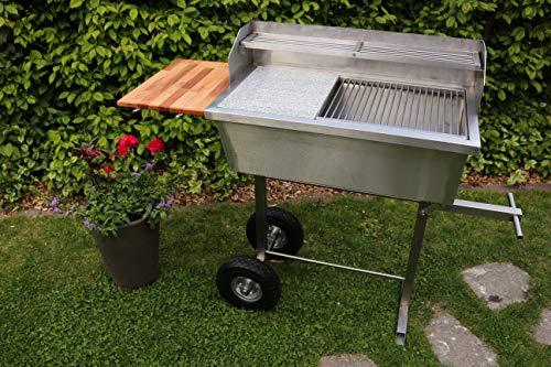 Kirschner Metallbau Edelstahl FAMILIENGRILL Grill 75x40cm Edelstahlgrill Smoker BBQ Holzkohlegrill Gasgrill Fischgrill Steckerlfischgrill