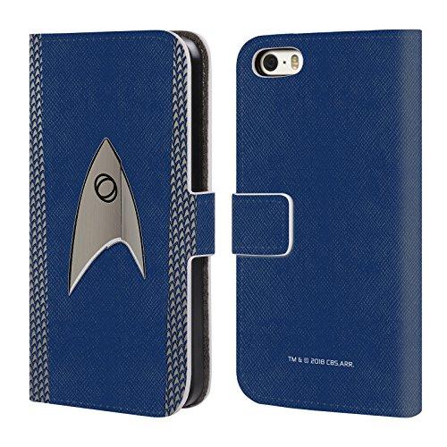 Officiële Star Trek Discovery Wetenschap Uniformen Lederen Book Portemonnee Cover Compatibel voor Apple iPhone 5 iPhone 5s iPhone SE