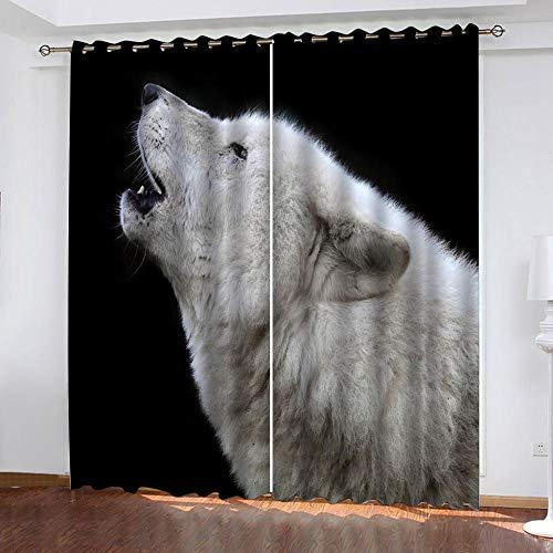 MENGBB Cortina Opaca Microfibra Infantil 280x260cm Animal Lobo Blanco 95% Opaca Cortina aislantes de frío y Calor Decorativa con Ojales Estilo para Salón Habitación y Dormitorio