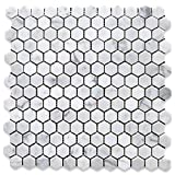 Stone Center Online Carrara White Marble 1 inch Hexagon Mosaic Tile Polished for Kitchen Backsplash Bathroom Flooring Shower Surround Dining Room Entryway Corrido Spa (1 Sheet)