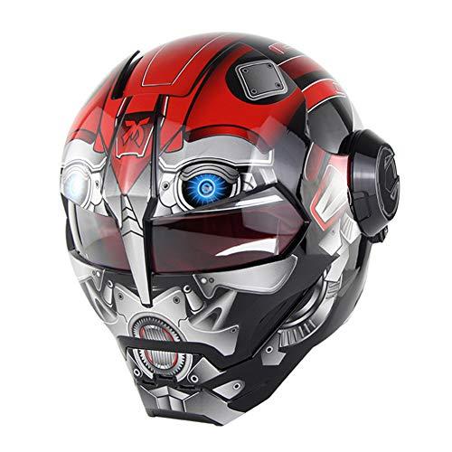 ANKIKI Retro Einzigartig Motorrad Helm Flip nach Oben Volles Gesicht Anti-Fall Schutzausrüstung Rennfahrer Reiten im Freien Off-Road,Red,L