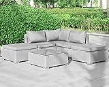 Enjoy Fit Gartenmöbel Rattan Polyrattan Lounge Sitzgruppe Garnitur aus Sessel Sofa Hocker Tisch mit...