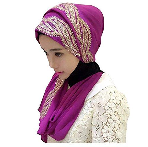 UK_Stone Damen Chiffon Einfarbig Muslimische Hijab Kopftuch Kopfbedeckung Islamischen Hijab Schal Indische Turban-Hüte Turbanmütze mit Champagner Muster, Hellviolett