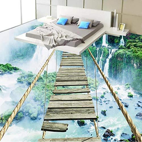 Papel tapiz mural de suelo 3D personalizado paisaje moderno cascada emocionante puente de cuerda autoadhesivo PVC pegatina de suelo decoración de baño-430 * 300cm