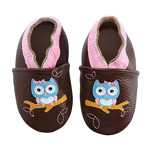 koshine Weiches Leder Krabbelschuhe Baby Schuhe Kinder Lauflernschuhe Hausschuhe 0-3 Jahre (6-12 Monate, Eule)