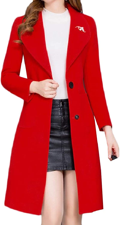 Abetteric Womens Plus Size Woolen Trench 2 Button Baggy Style Pea Coat Jacket