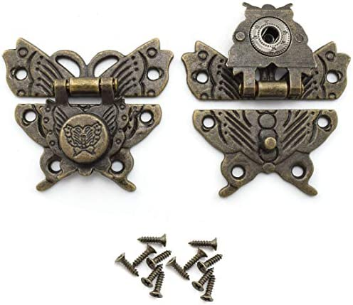 Antique Latch Hasp OZXNO 2 Pack Retro Bronze Zinc Alloy Butterfly Lock Catch Screws for Jewelry product image