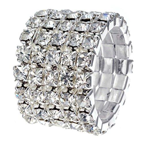 WTZ - New Sparkling 5 Row Crystal Rhinestone Stretch Ring #R1238