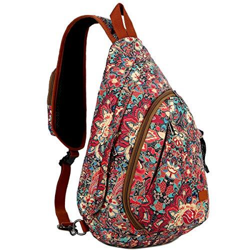 BAOSHA Sling Rucksack Tasche Crossbody Brusttasche Schultertasche Reise Wandern Daypack für Frauen XB-04 (Blumendrucke HS)