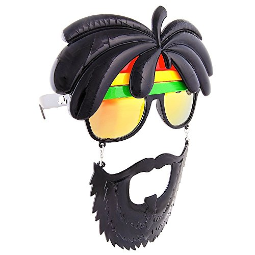 Sunstaches Rasta Sunglasses, Instant Costume, Party Favors, UV400 (Guy Fieri Best Cioppino)