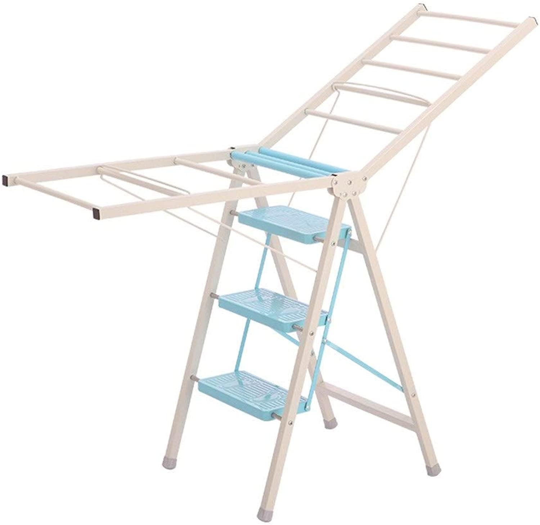 ZPWSNH Floorstanding Folding Folding Folding Ladder Step Stool Home Multifunction Hanger Indoor Dualuse Step Stool Step stool (color   bluee, Size   50  105CM) 2940d5