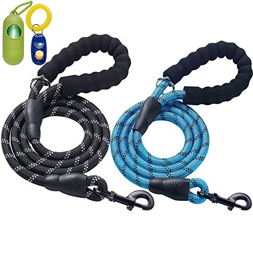 ladoogo 2 Pack 5 FT Heavy Duty Dog Leash with Comfortable Padded Handle Reflective Dog leashes for...